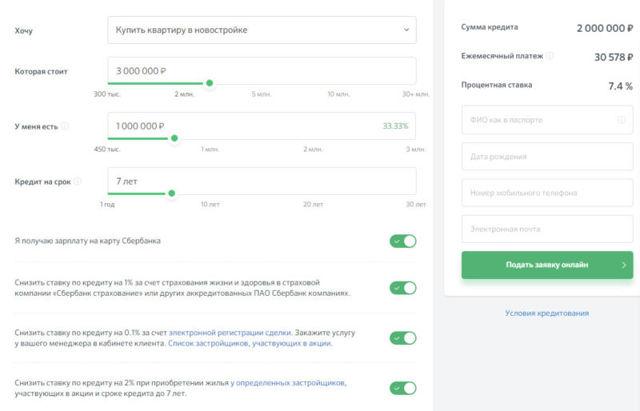 Ипотека на новостройку в Сбербанке: кредитный калькулятор, требования к заемщикам и недвижимости